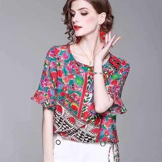 Luxe silk Beaded fish print blouse tshirt top