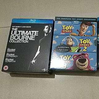 Blu ray tron, bourne ultimatum, identity, toy story