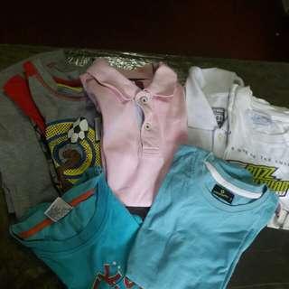 Bundle of 5 shirt & terno pajama( re - priced) 5 to 6 yrs old