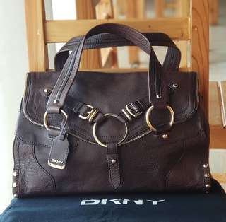 Authentic DKNY Dark Brown Studded, buckled with zip accent Satchel Gold hardware