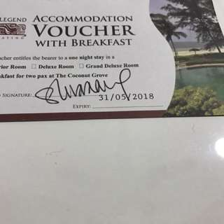 The Legend Cherating accommodation voucher with breakfast