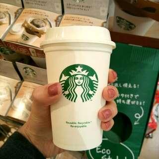 日本~Starbucks耐熱膠杯SHORT Size~eco cup~附送兩包星巴克咖啡粉