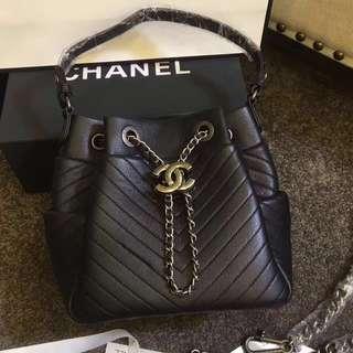 Chanel Lambskin Drawstring Chevron Silver-Tone Bag