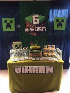 Backdrop and Cake Table Minecraft Birthday Party