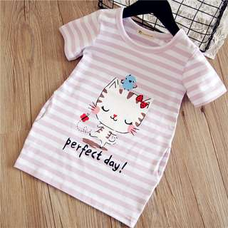 Preorder stripe cat prints long top