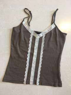 Tank Top with Lace Appliqué and Adjustable Straps