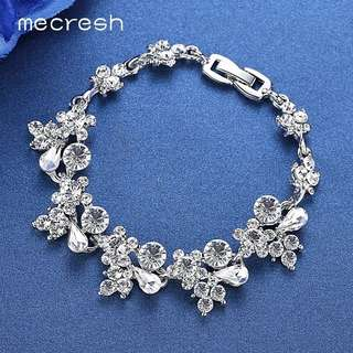Mecresh Crystal Bridal Bracelets for Women Silver/Gold-Color Rhinestones African Wedding Pulseiras Christmas Party Jewelry SL0798