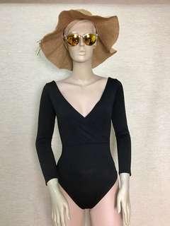 One piece V-neck Backless Swimsuit