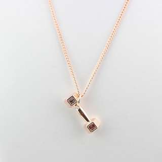 Women's square dumbell barbell rose gold necklace