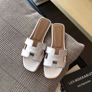 New Hermes Flat Sandals Oran White