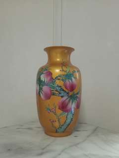 Old Porcelain Yellow Glazed Vase height 38cm perfect condition
