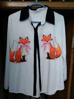 Kemeja fox list hitam