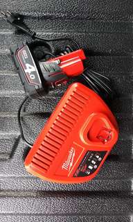 Milwaukee M12 4.0Ah red lithium-ion battery and charger