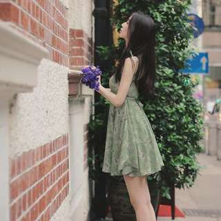 inc postage. Green floral sleeveless dress
