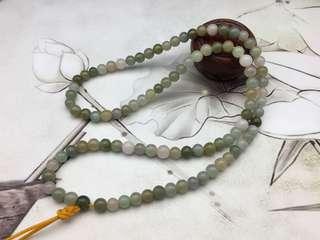 舊工天然翡翠糯種三色珠頸串