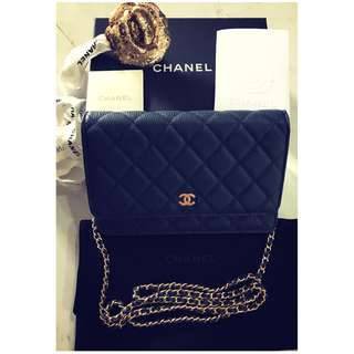CHANEL WOC in Navy Blue with Gold Hardware