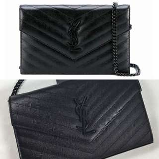 Saint Laurent All Black Envelope Clutch With Chain