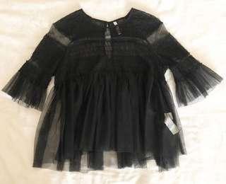 Zara sheer black blouse