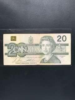 🇨🇦91年舊版20加元 (包平郵)