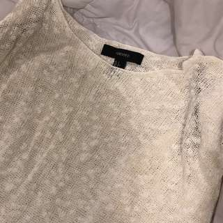 f21 cream light knit oversized top sweater pullover