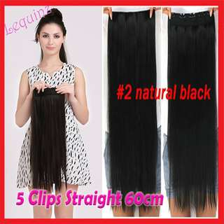 5clips Hair Extensions Straight 60cm Natural Black #2