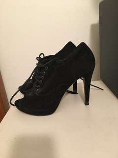 Black Peeptoe Laceup Boots