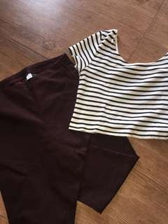 H&M BUNDLE!!! maroon highwaist trousers/jeggings & stripes knitted crop top