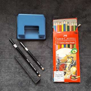 Take All School Supplies (Puncher, Color Pencil & Charcoal Pencil)