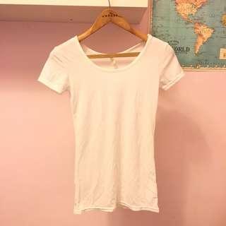 正韓 白色上衣 白色T-shirt 合身短線袖T