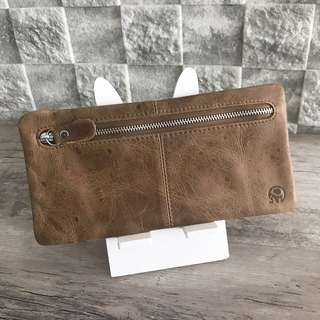 Unique Uneven Light Brown Leather Wallet cum Mobile Phone Holder Pouch @sunwalker