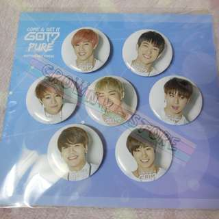 [CRAZY DEAL 60% OFF FROM ORIGINAL PRICE][READY STOCK][RARE]GOT7 KOREA OFFICIAL GOODS<PURE> BUTTON SET 7PC OFFICIAL ORIGINAL FROM KOREA (PRICE NOT INCLUDE POSTAGE)PLEASE READ DETAILS FOR MORE INFO