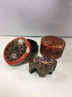 印度手工藝首飾小盒2個及小象1個