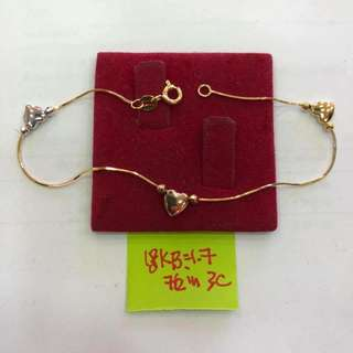 18K Saudi Gold tri color heart bracelet