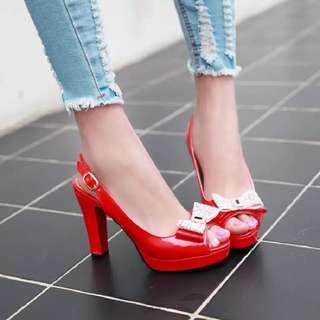 Size 32-43 Diamond Rhinestone Ribbon Bow Peep Toes Chunky High Heels
