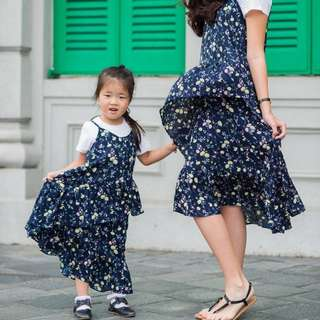 ☑️ INSTOCKS 3-15Y Girls Floral Hem Dress G21031D (Mother size available)