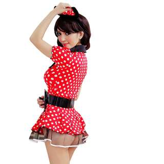TCWK Mickey Cat Costume Cosplay Uniform Outfit Sexy Red FF03