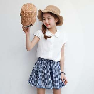 ☑️ INSTOCKS 3-15Y Girls White Top and Checker Skirt 2pcs Set G21031C (Mother size available)