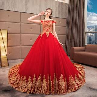Gown Collection - Golden Embroidered Blossom Red Long Tail Grand Event Gown