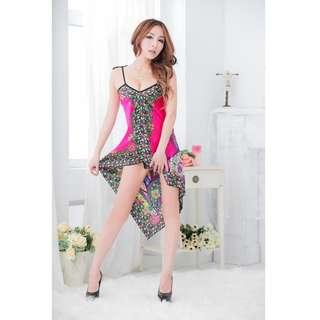 TCWK Sexy Women Long Nightdress Sleepwear Dark Pink & Yellow F74