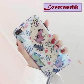 手機殼IPhone6/7/8/plus/X : 可愛塗鴉愛心小動物藍光全包黑邊軟殼
