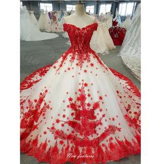 Gown Collection - Wonderful T-Off Shoulder Red Embroidered Lace Design Long Tail Gown