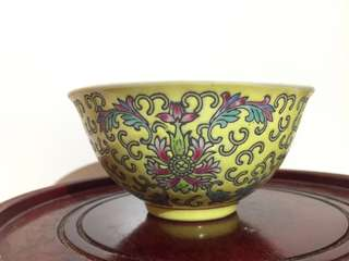 Rare Yellow hand-painted small bowl , 70s-80s景德鎮