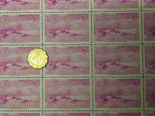 少有版票Liberia(1953)25C航空郵票,全版25枚只售$15, 版票系列(30)
