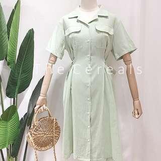 TC2231 Korea Buttons Up Designer Dress (Green,Blue,Beige,Pink)