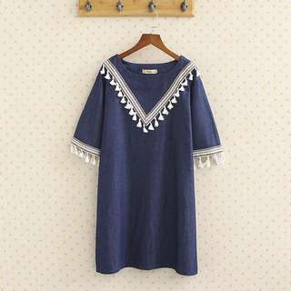(2XL~5XL) Female Korean fashion ethnic style half-sleeved denim dress top