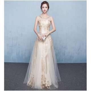 Gown Collection - Simple But Noble Gold Beads Design Sleeveless Gown
