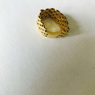 Genuine 750 gold large link ring