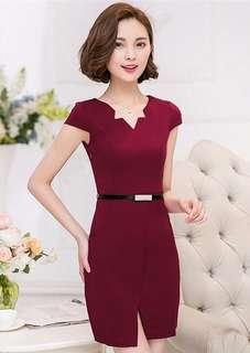 Office: Red V-Neck Bodycon Short Sleeve Dress (S / M / L / XL / 2XL / 3XL) - OA/XKC072476