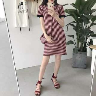 [PO] Petite Short Sleeved Striped Dress