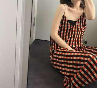 ioz 韓國格紋細帶雪紡洋裝長裙 夏